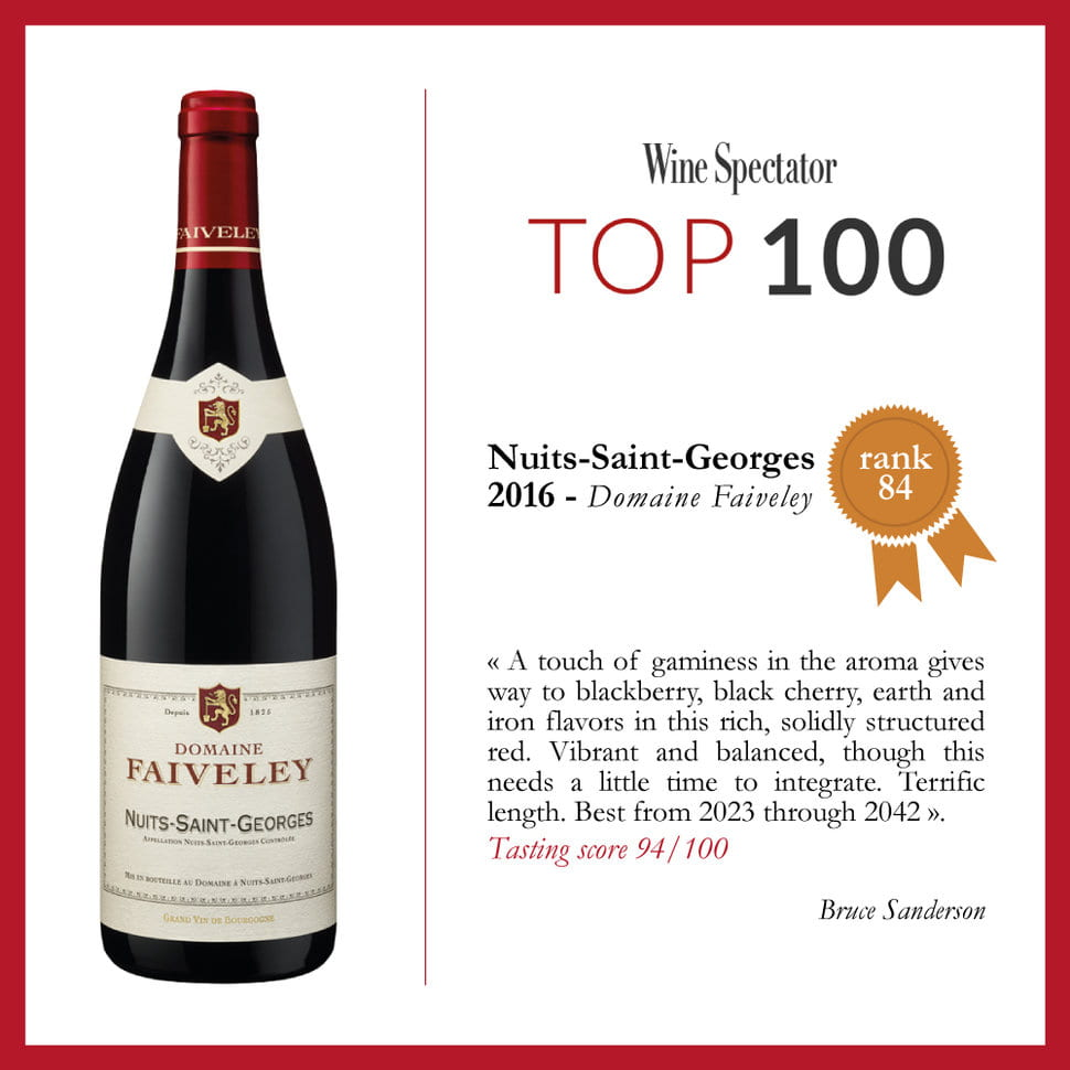 Wine Spectator's Top 100: our Nuits-Saint-Georges 2016 ranked #84 !